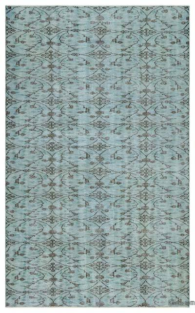 """Green Over-dyed Turkish Vintage Rug - 5' 3"""" x 8' 8"""" (63 in. x 104 in.)"""