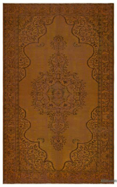 "Brown Over-dyed Turkish Vintage Rug - 6' 3"" x 9' 10"" (75 in. x 118 in.)"
