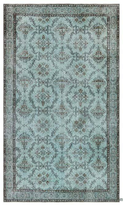 """Green Over-dyed Turkish Vintage Rug - 4' 11"""" x 8' 7"""" (59 in. x 103 in.)"""
