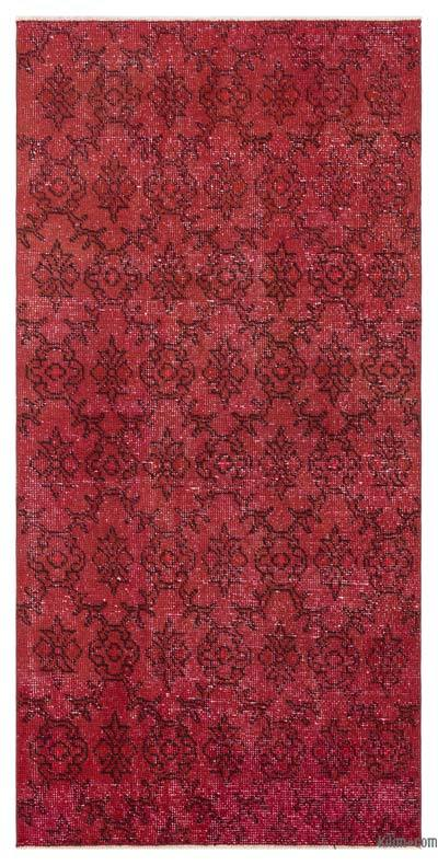 Boyalı El Dokuma Vintage Halı - 89 cm x 185 cm