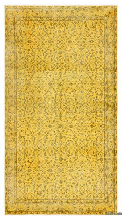 Boyalı El Dokuma Vintage Halı - 112 cm x 207 cm