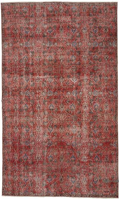 """Red Turkish Vintage Area Rug - 5'  x 8' 5"""" (60 in. x 101 in.)"""