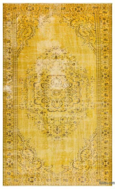 Boyalı El Dokuma Vintage Halı - 174 cm x 296 cm