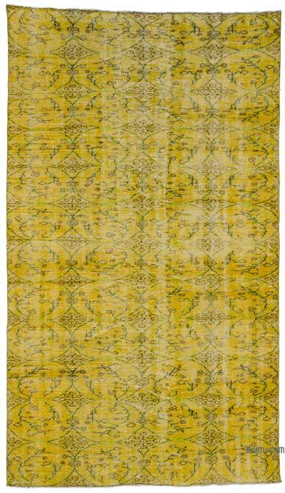 "Yellow Over-dyed Turkish Vintage Rug - 4' 11"" x 8' 5"" (59 in. x 101 in.)"