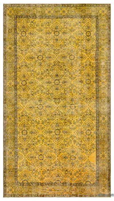 "Yellow Over-dyed Turkish Vintage Rug - 4' 10"" x 8' 6"" (58 in. x 102 in.)"