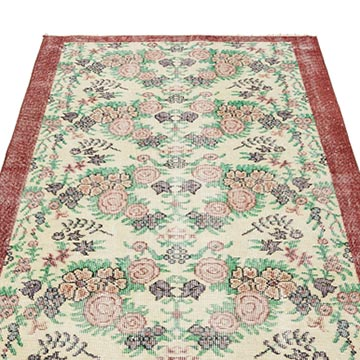 """Vintage Turkish Hand-Knotted Rug - 3' 9"""" x 6' 7"""" (45 in. x 79 in.) - K0044261"""