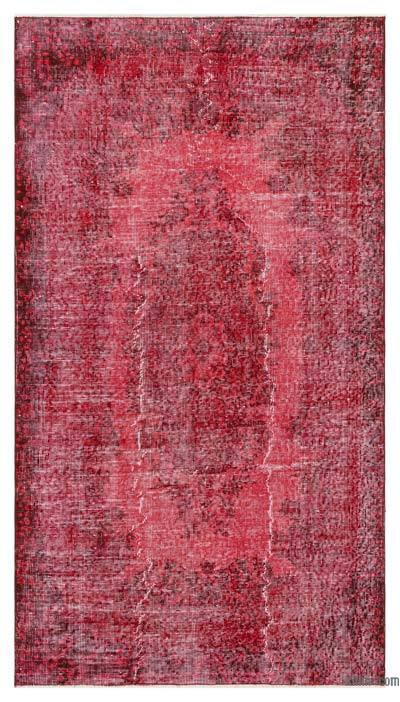 Boyalı El Dokuma Vintage Halı - 113 cm x 208 cm