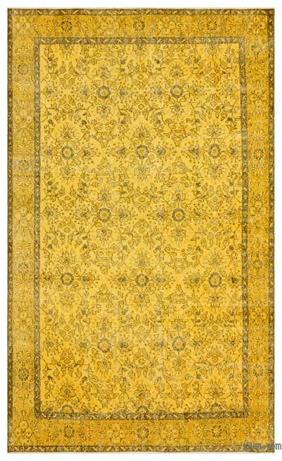 "Yellow Over-dyed Turkish Vintage Rug - 5' 5"" x 8' 9"" (65 in. x 105 in.)"