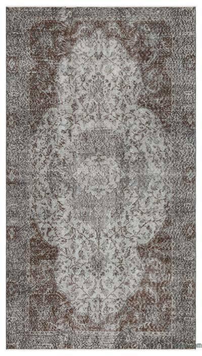 Boyalı El Dokuma Vintage Halı - 146 cm x 264 cm