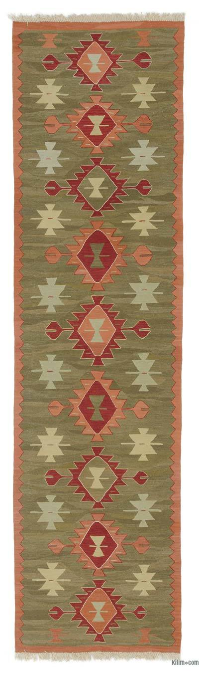 "New Handwoven Turkish Kilim Runner - 3' 1"" x 11' 7"" (37 in. x 139 in.)"