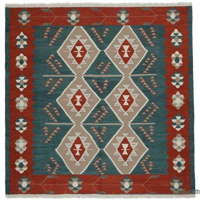 """New Handwoven Turkish Kilim Rug - 8'4"""" x 8'4"""" (100 in. x 100 in.)"""