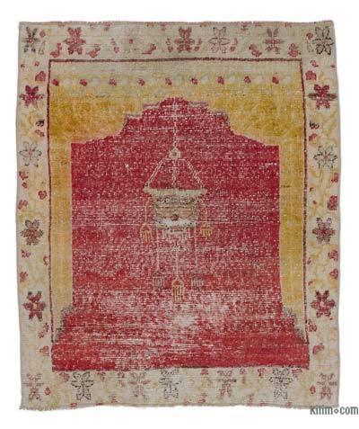 El Dokuma Vintage Halı - 90 cm x 110 cm