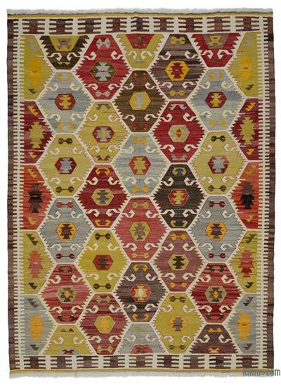 "New Turkish Kilim Rug - Vintage Yarn - 8'8"" x 11'7"" (104 in. x 139 in.)"