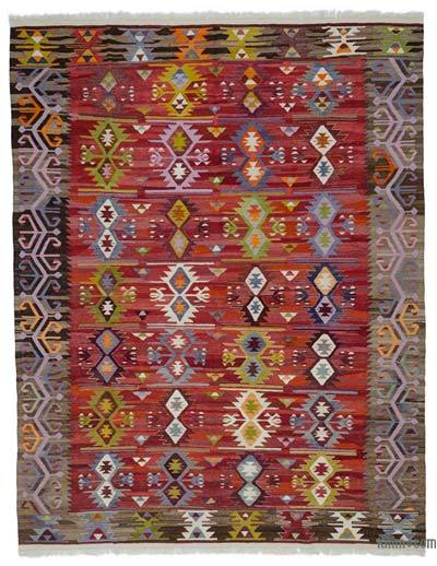 "New Turkish Kilim Rug - Vintage Yarn - 8' 7"" x 11'  (103 in. x 132 in.)"
