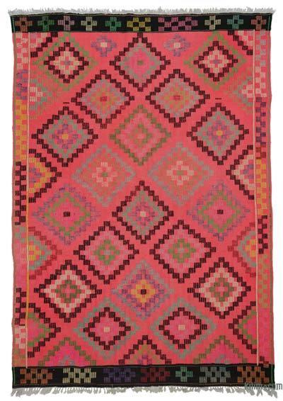 """Turkish Vintage Kilim Rug - 6' 4"""" x 9' 3"""" (76 in. x 111 in.)"""