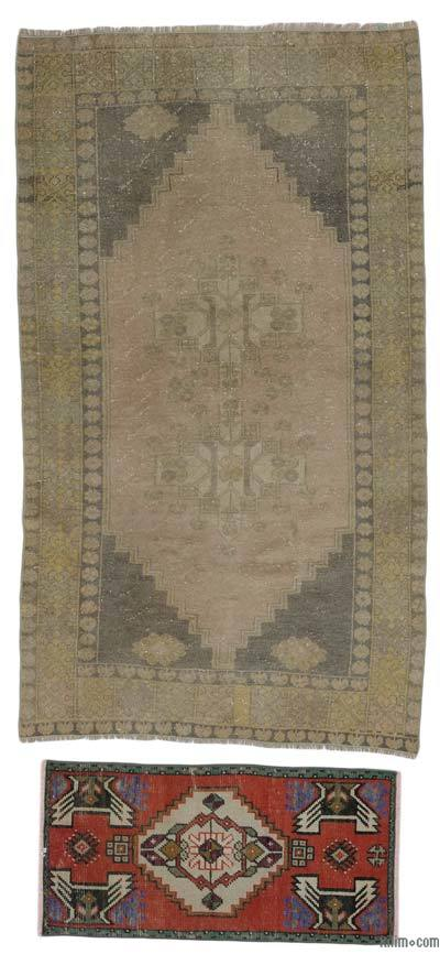 "Turkish Vintage Area Rug - 3'6"" x 6'2"" (42 in. x 74 in.)"