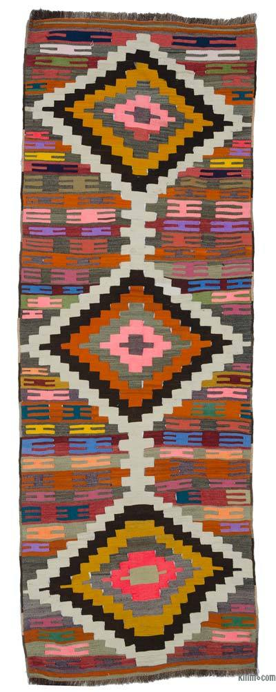 "Vintage Turkish Kilim Runner - 3'  x 8' 8"" (36 in. x 104 in.)"