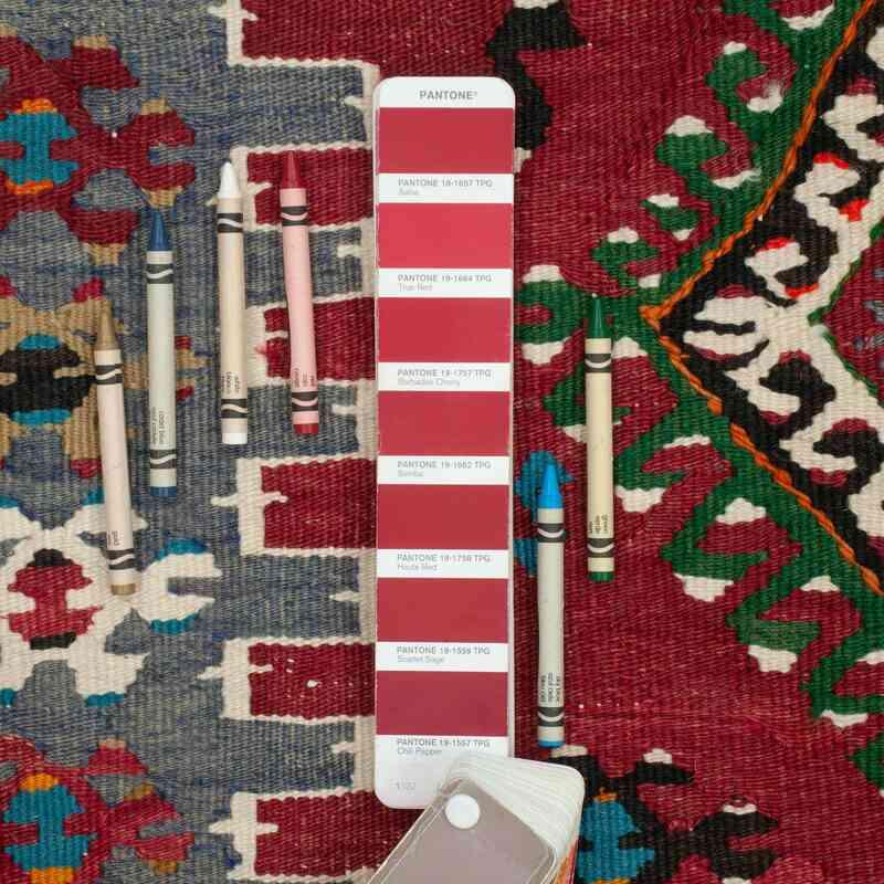 """Red, Blue Vintage Esme Kilim Rug - 3'  x 3' 7"""" (36 in. x 43 in.) - K0045346"""