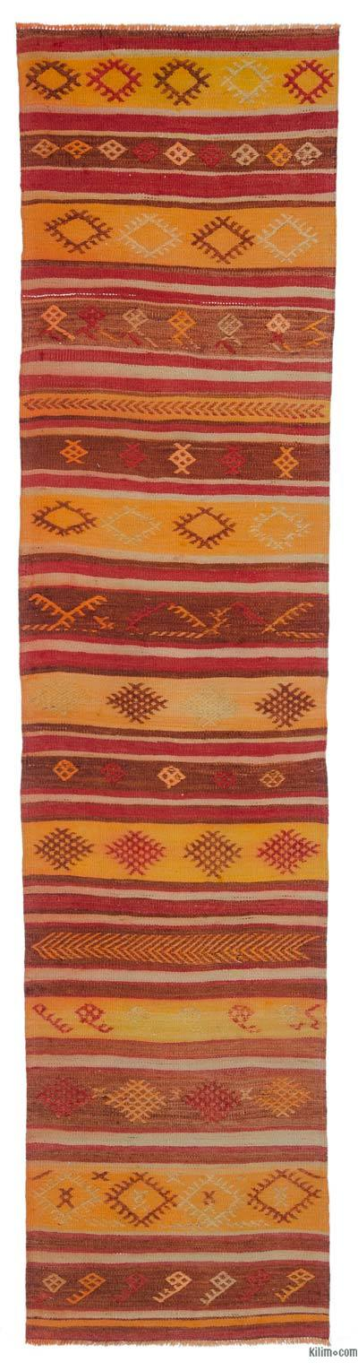 "Yellow, Red Vintage Sivas Kilim Runner - 2' 4"" x 9' 8"" (28 in. x 116 in.)"