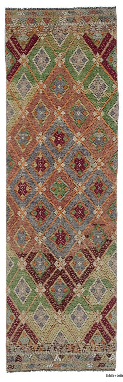 "Multicolor Vintage Denizli Jijim Runner - 2' 5"" x 7' 11"" (29 in. x 95 in.)"