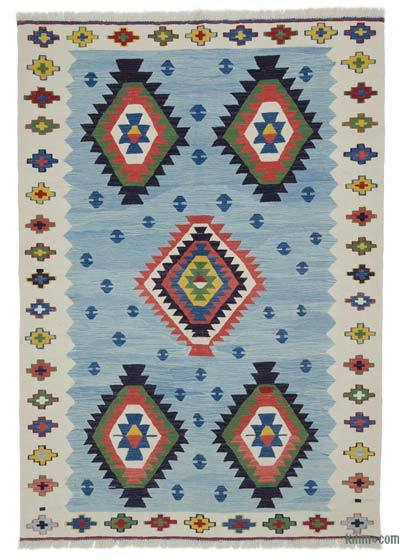 "New Handwoven Turkish Kilim Rug - 5' 7"" x 8'  (67 in. x 96 in.)"