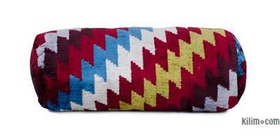 """Velvet Ikat Bolster Pillow - 1' 4"""" x 6"""" (16 in. x 6 in.)"""