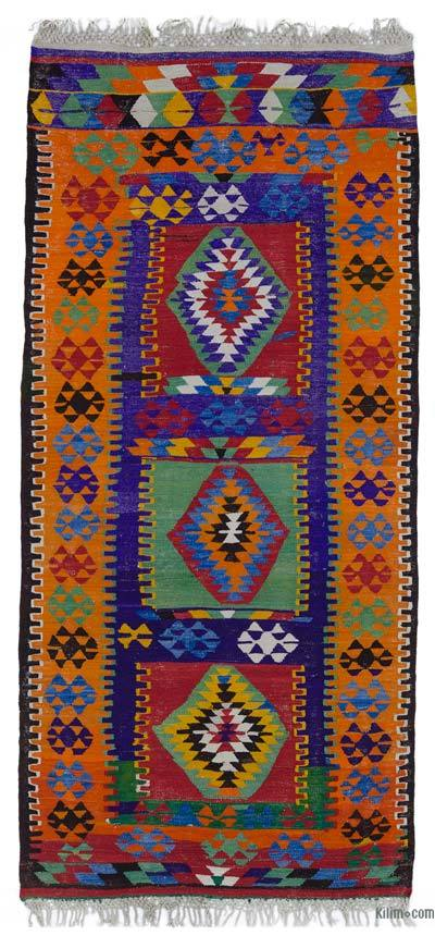 "Vintage Turkish Kilim Runner - 4' 5"" x 9' 5"" (53 in. x 113 in.)"