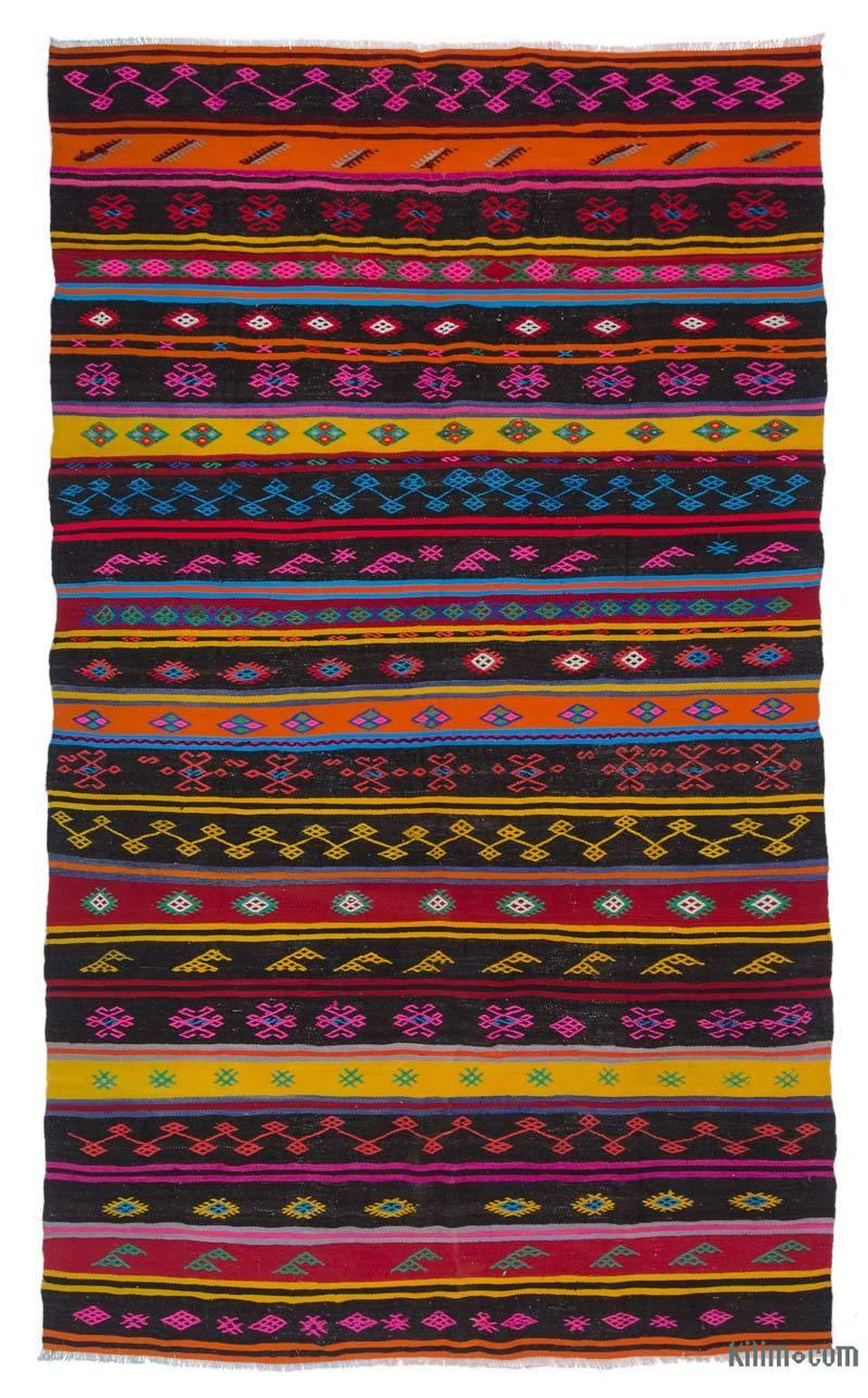 "Multicolor Vintage Turkish Kilim Rug - 6' 8"" x 10' 9"" (80 in. x 129 in.) - K0047076"