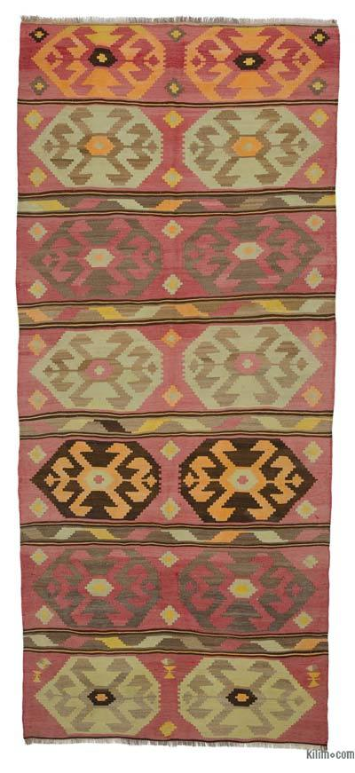 "Multicolor Vintage Turkish Kilim Rug - 5' 6"" x 12' 6"" (66 in. x 150 in.)"