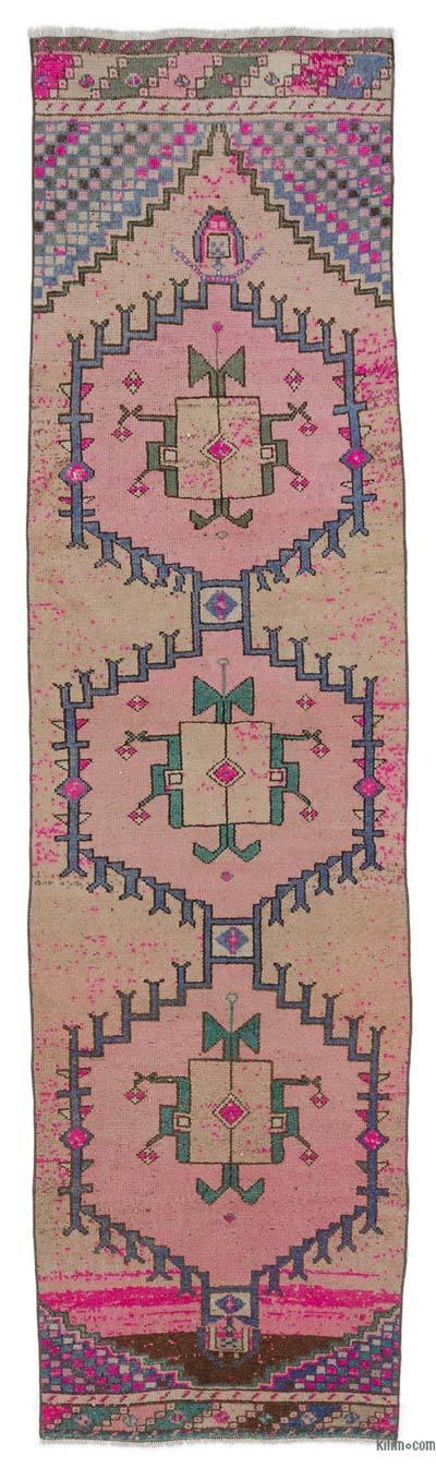 Pink Vintage Turkish Runner Rug - 3'  x 11'  (36 in. x 132 in.)