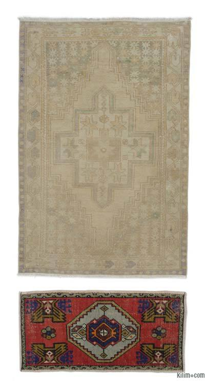 """Turkish Vintage Area Rug - 3'5"""" x 5'1"""" (41 in. x 61 in.)"""