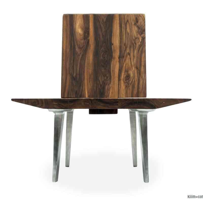 Unique Walnut Chair with Sand Cast Aluminium Legs - K0047134
