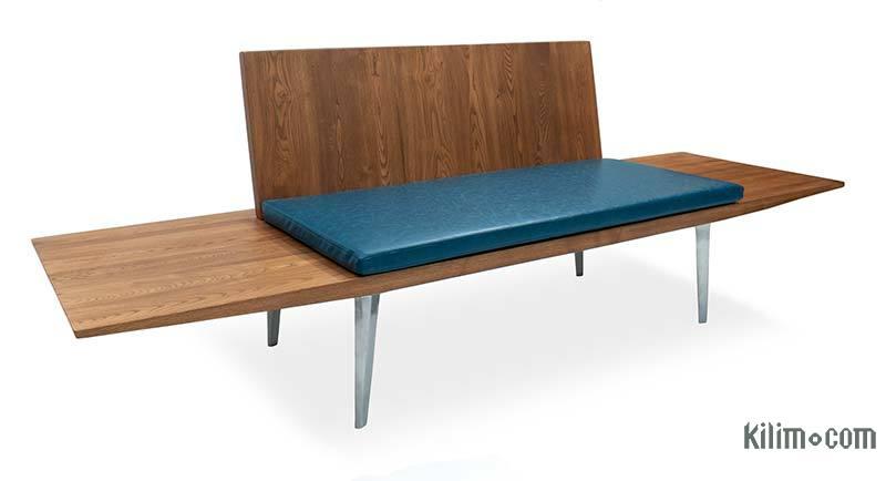 Solid Chestnut Wood Sofa with Sand Cast Aluminium Legs - K0047136
