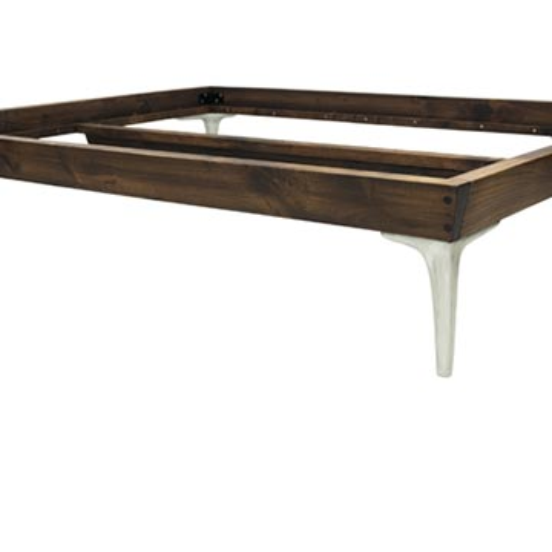 Walnut Bed Frame with Cast Aluminium Legs - K0047137