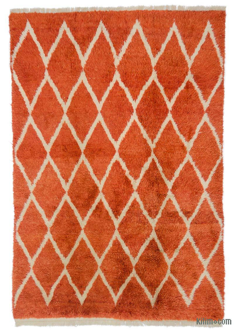"""Orange Moroccan Style Hand-Knotted Tulu Rug - 7'  x 10' 2"""" (84 in. x 122 in.) - K0047152"""