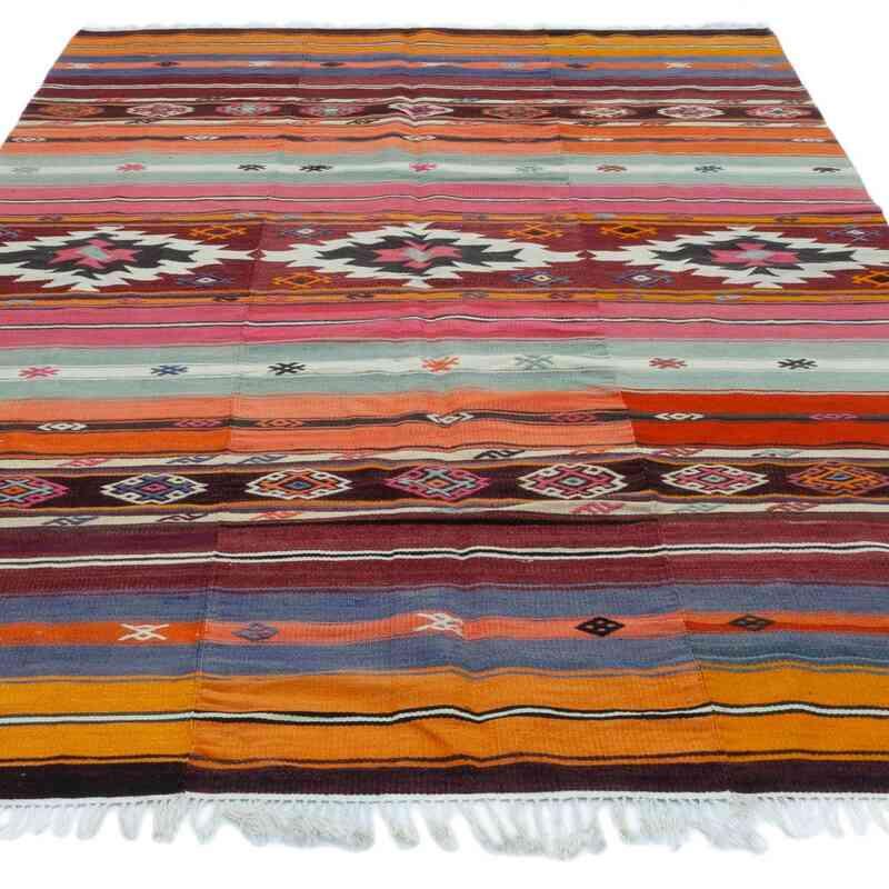 """Multicolor Vintage Manisa Kilim Rug - 5' 1"""" x 8' 2"""" (61 in. x 98 in.) - K0047801"""
