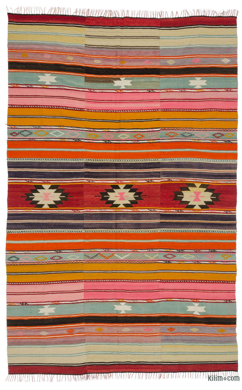 Multicolor Vintage Manisa Kilim Rug