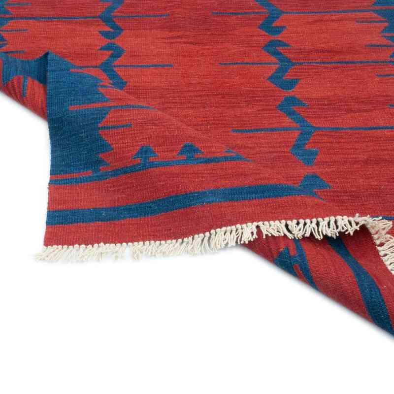 Kırmızı, Lacivert Yeni Kök Boya El Dokuma Kilim - 123 cm x 184 cm - K0047831