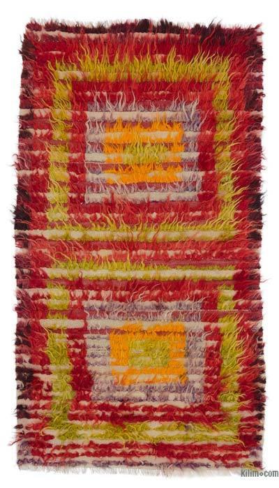 "Multicolor Vintage Anatolian Tulu Rug - 2' 9"" x 5'  (33 in. x 60 in.)"