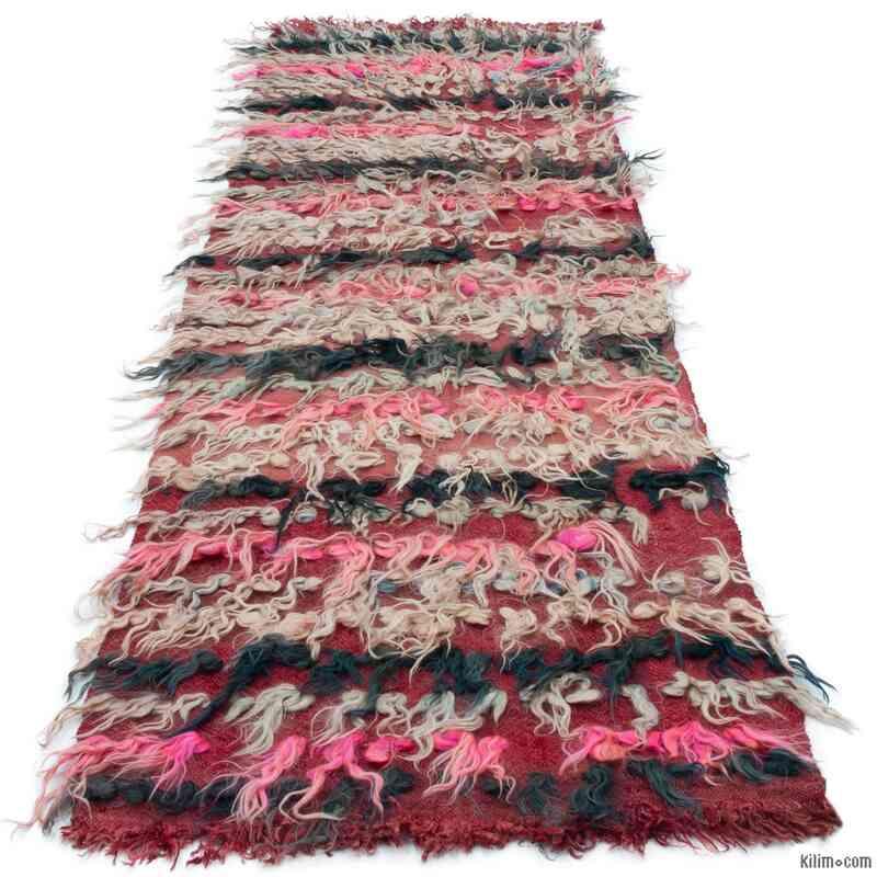 Çok Renkli Vintage Anadolu Tülü Yolluk - 68 cm x 212 cm - K0047859