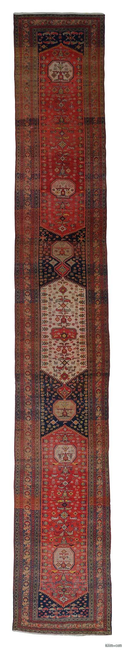 "Multicolor Antique Anatolian Runner Rug - 4'  x 25' 7"" (48 in. x 307 in.)"