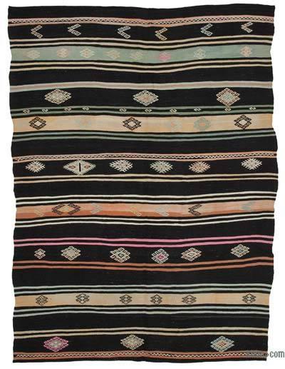"Vintage Anatolian Kilim Rug - 7' 4"" x 9' 11"" (88 in. x 119 in.)"