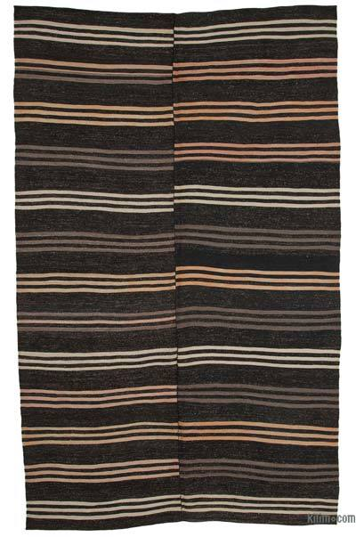 "Brown Vintage Anatolian Kilim Rug - 6' 11"" x 11' 7"" (83 in. x 139 in.)"