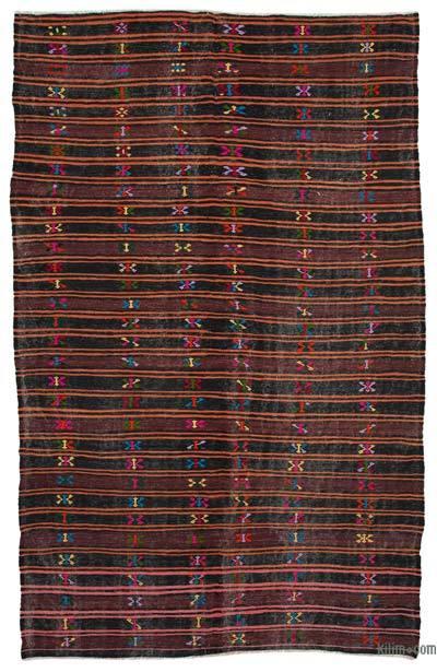 Kahverengi, Kırmızı Vintage Anadolu Kilim - 223 cm x 363 cm