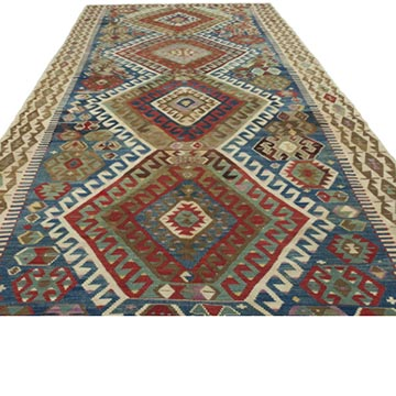 Çok Renkli Antik Sivrihisar Kilimi - 180 cm x 419 cm - K0048016