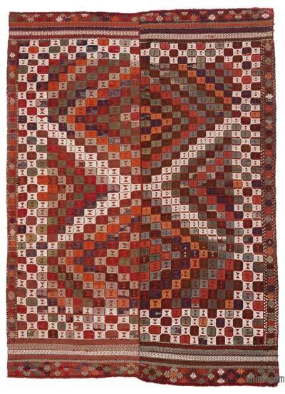 """Multicolor Vintage Adana Jijim Rug - 5' 1"""" x 7' 1"""" (61 in. x 85 in.)"""