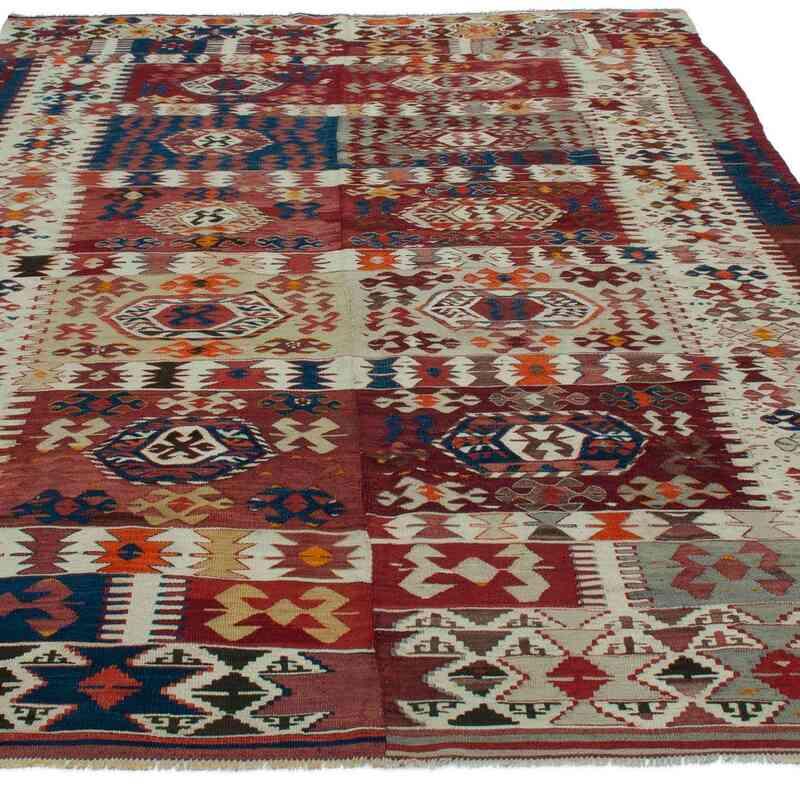 """Multicolor Antique Aydin Kilim Rug - 5' 8"""" x 8' 10"""" (68 in. x 106 in.) - K0048032"""