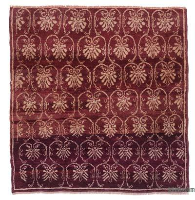 "Red Vintage Anatolian Rug - 3' 4"" x 3' 6"" (40 in. x 42 in.)"