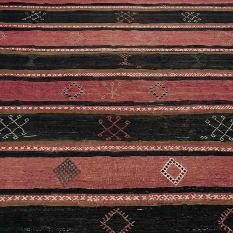 """Black, Red Vintage Turkish Kilim Rug - 6' 8"""" x 13' 7"""" (80 in. x 163 in.) - K0048040"""