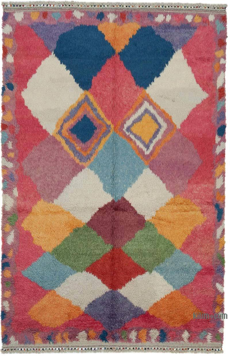 """Multicolor Moroccan Style Hand-Knotted Tulu Rug - 6' 9"""" x 10' 6"""" (81 in. x 126 in.) - K0048050"""